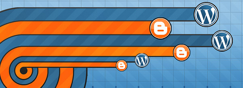 Image featuring WordPress and Blogger logos